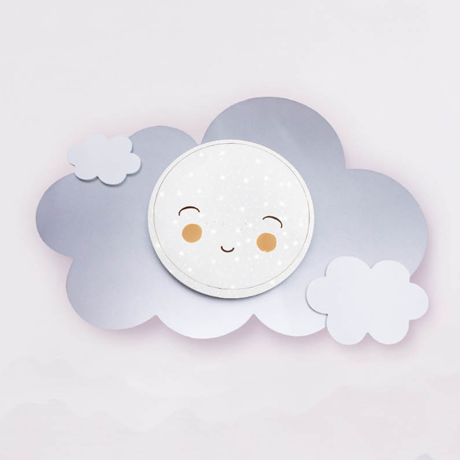 Applique LED nuage Starlight Smile argentée