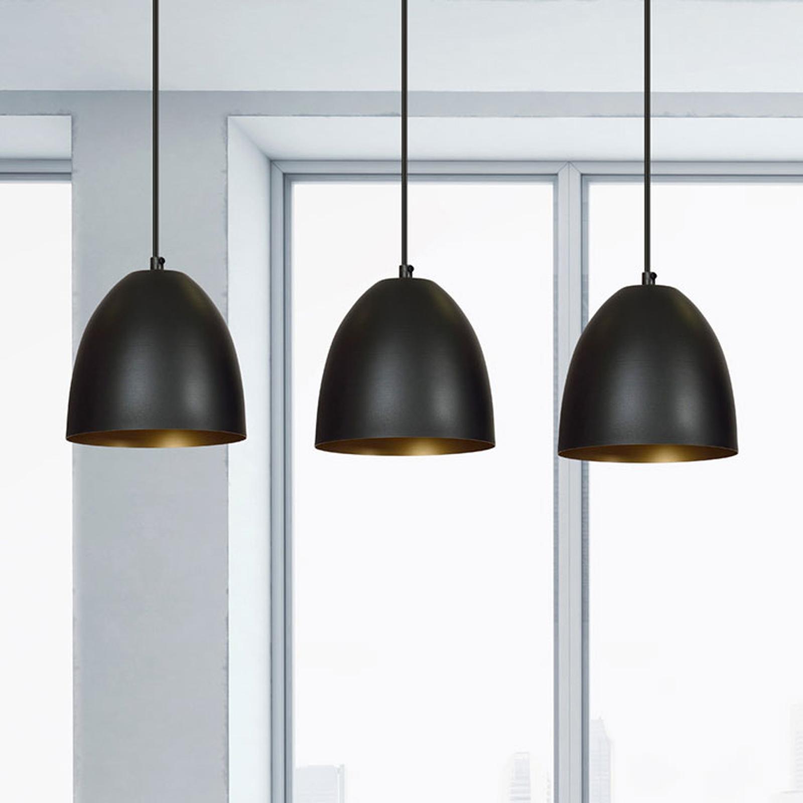 Suspension Lenox, à 3 lampes, noire/dorée