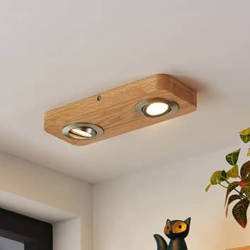 Lindby Mikari LED-Deckenleuchte aus Holz, 2-fl.