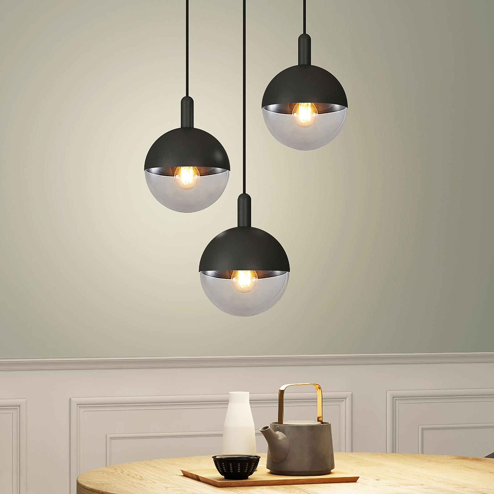 Lucande Dustian -riippuvalo, 3-lamp., 51 cm