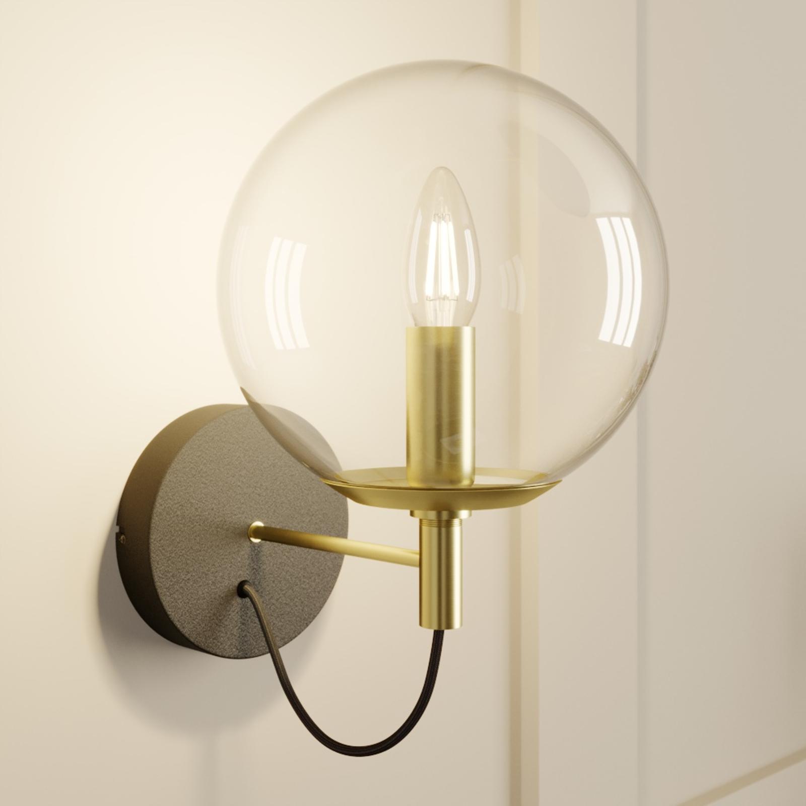 Lucande Sotiana applique a sfera di vetro, ottone