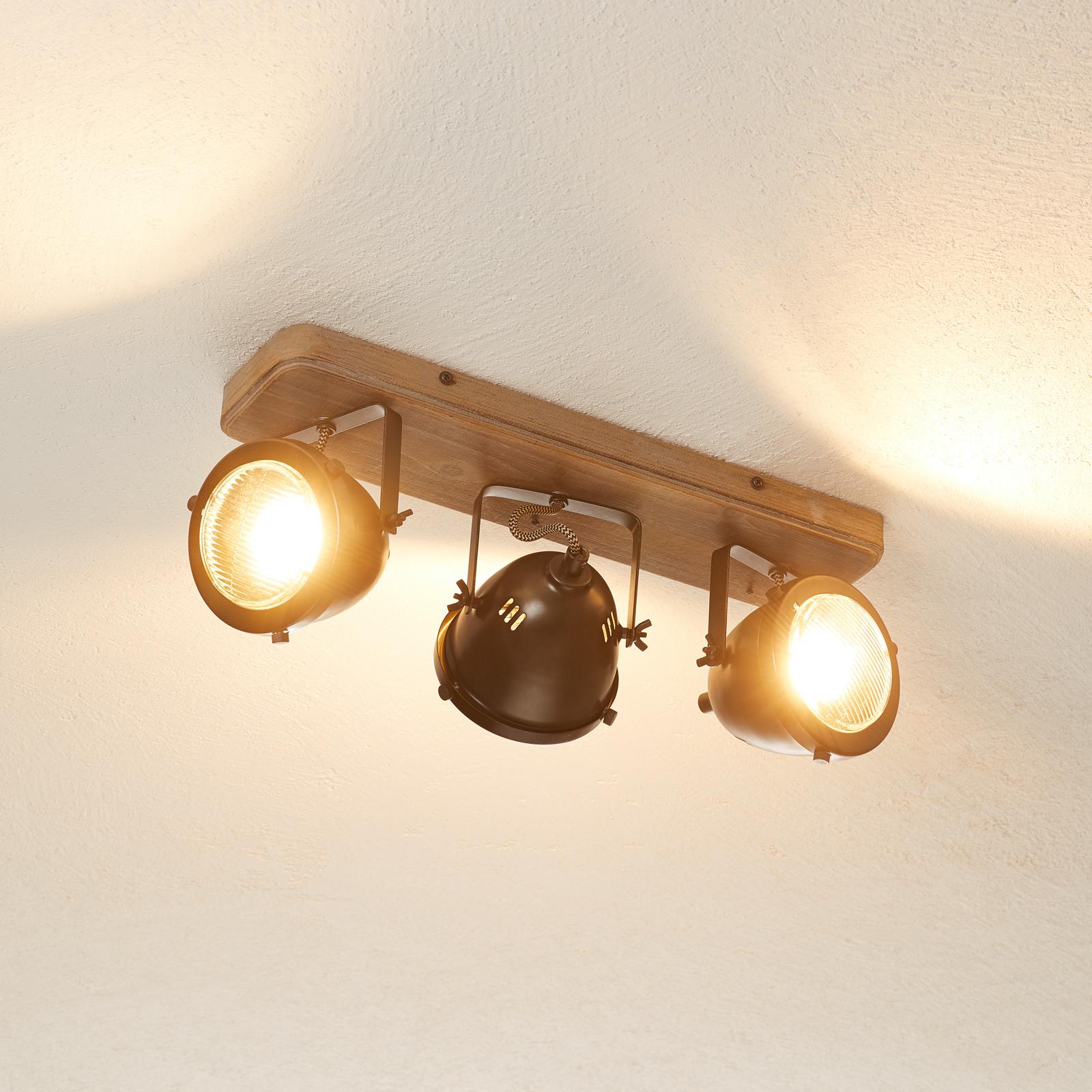 Lámpara de techo Carmen Wood industrial, 3 brazos