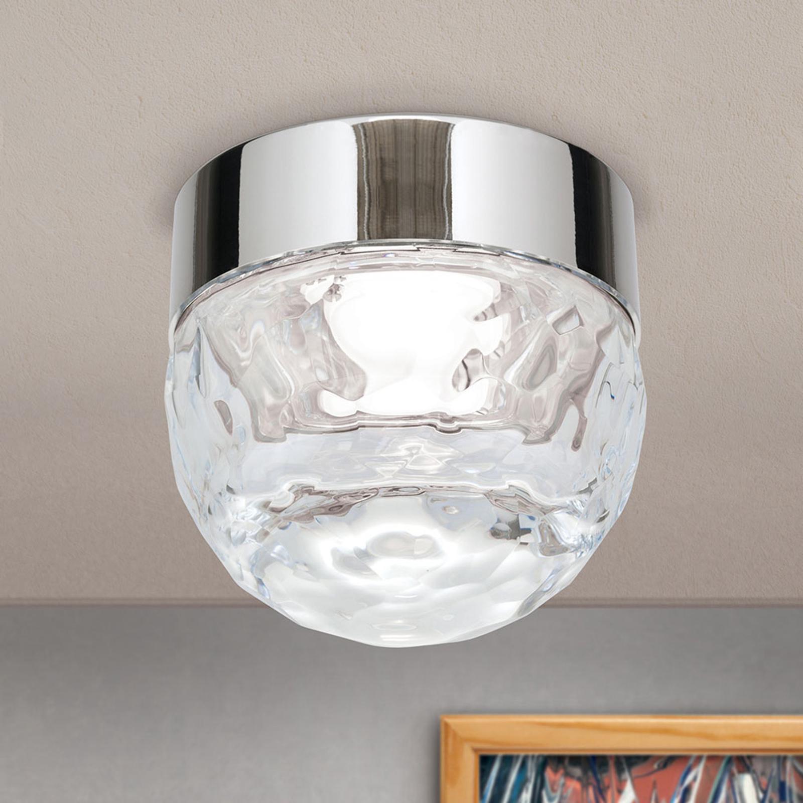 LED-taklampe Ball 1 lyskilde, nikkel, rund