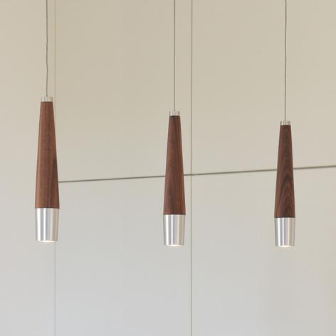 HerzBlut Conico LED-Hängelampe Nussbaum, 3-flammig