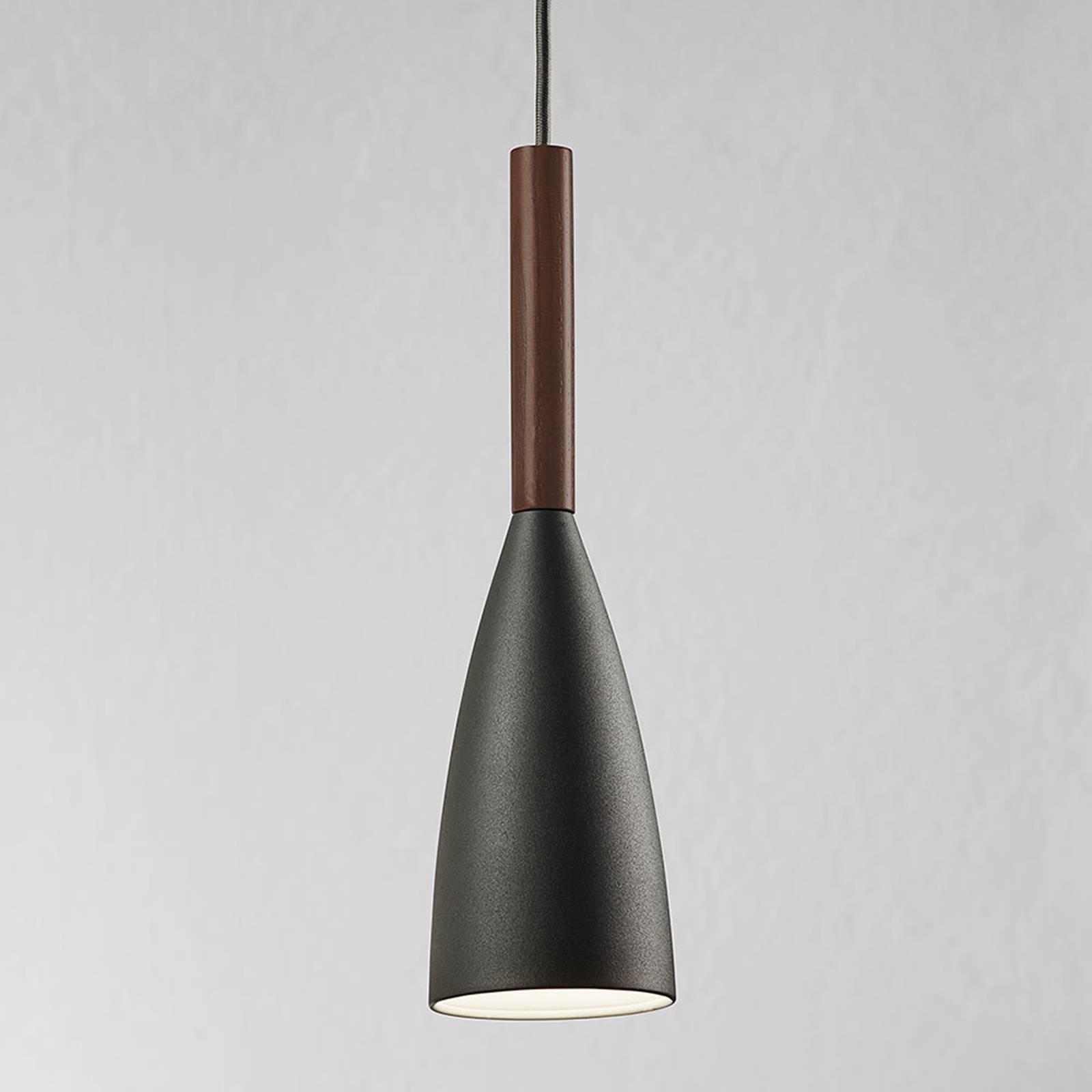 Lampa wisząca Pure z elementem drewnianym, szara