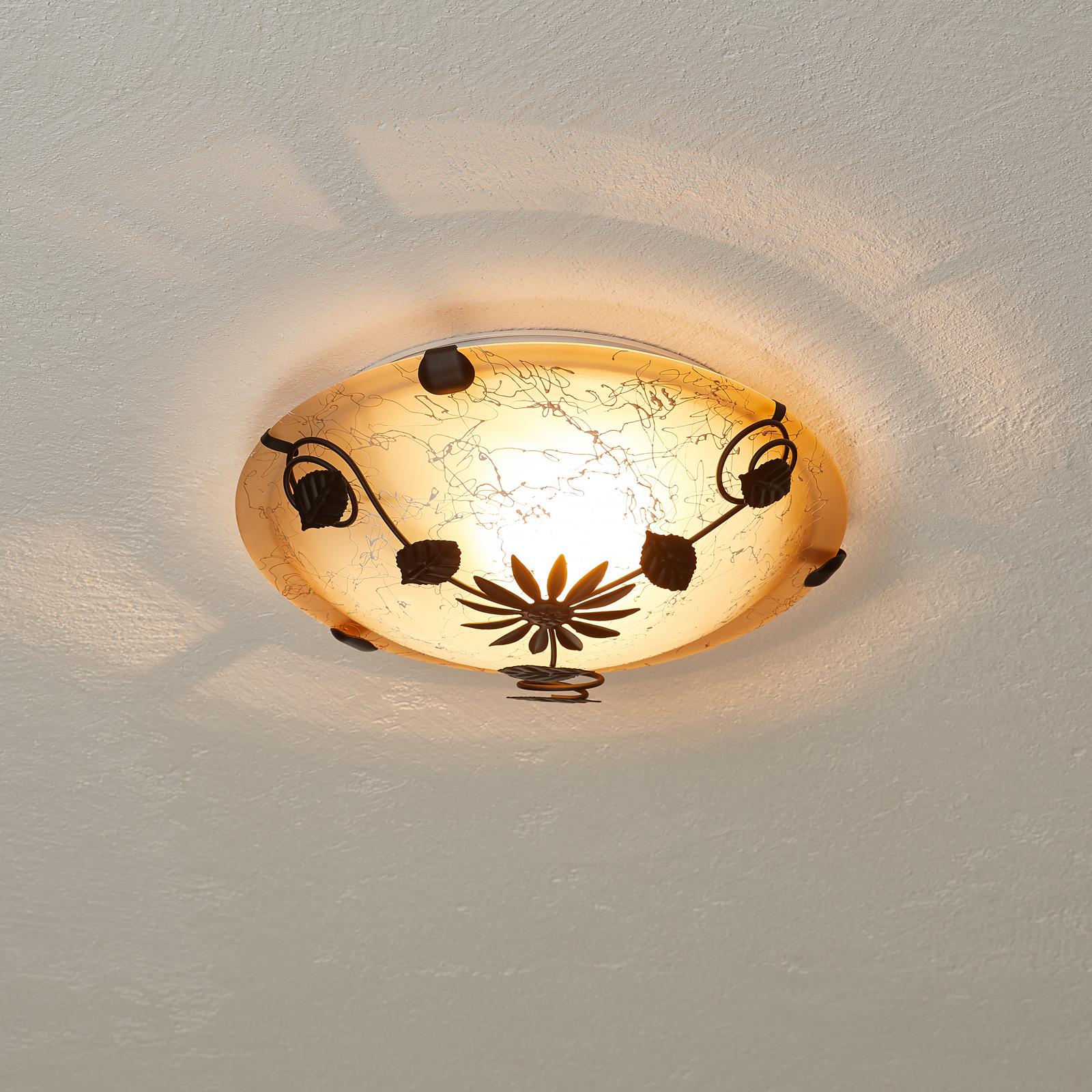 Brązowa lampa sufitowa Provence, motyw roślinny