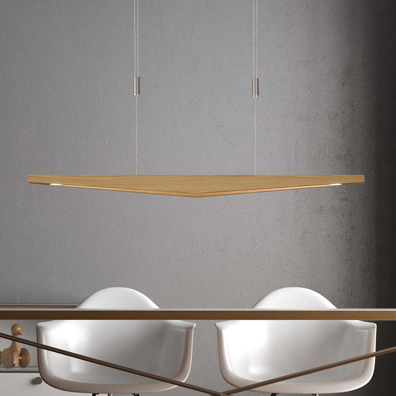 Lucande Dila LED hanglamp, eiken naturel 118 cm