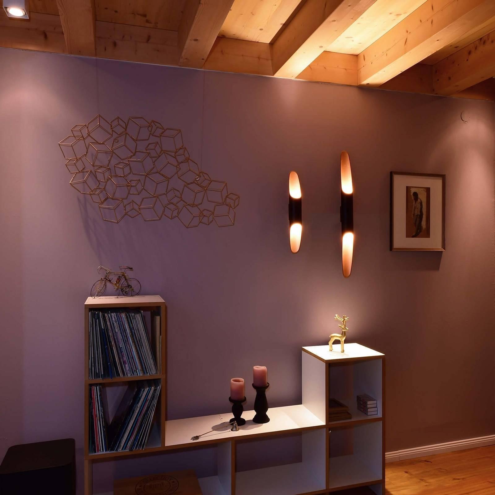 LED wandlamp Apodis, 80cm roségoud/zwart