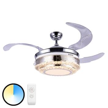 Ventilatore LED a pale Cabrera nichel satinato