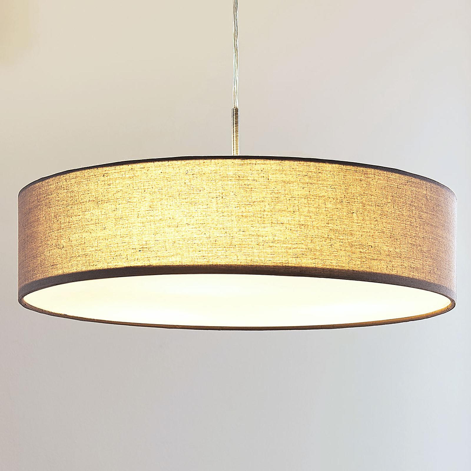 Stoffpendellampe Sebatin i grått m. E27-LED