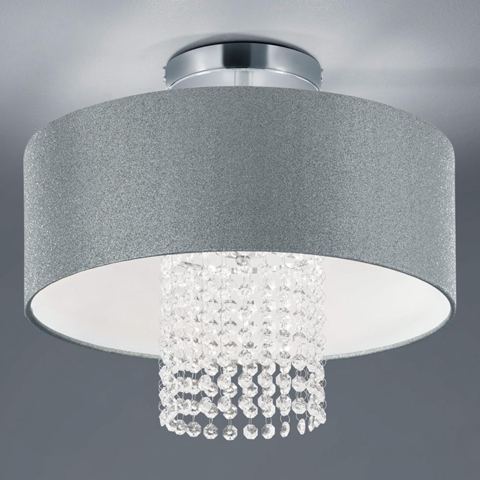 Lampa sufitowa King z tekstylnym kloszem, srebrna