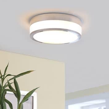 Lindby Flavi taklampe til bad, Ø 23 cm, krom