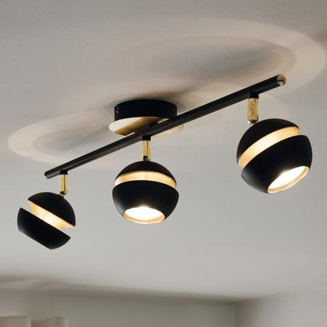 LED-Deckenlampe Nocito 3-flammig in Schwarz-Gold