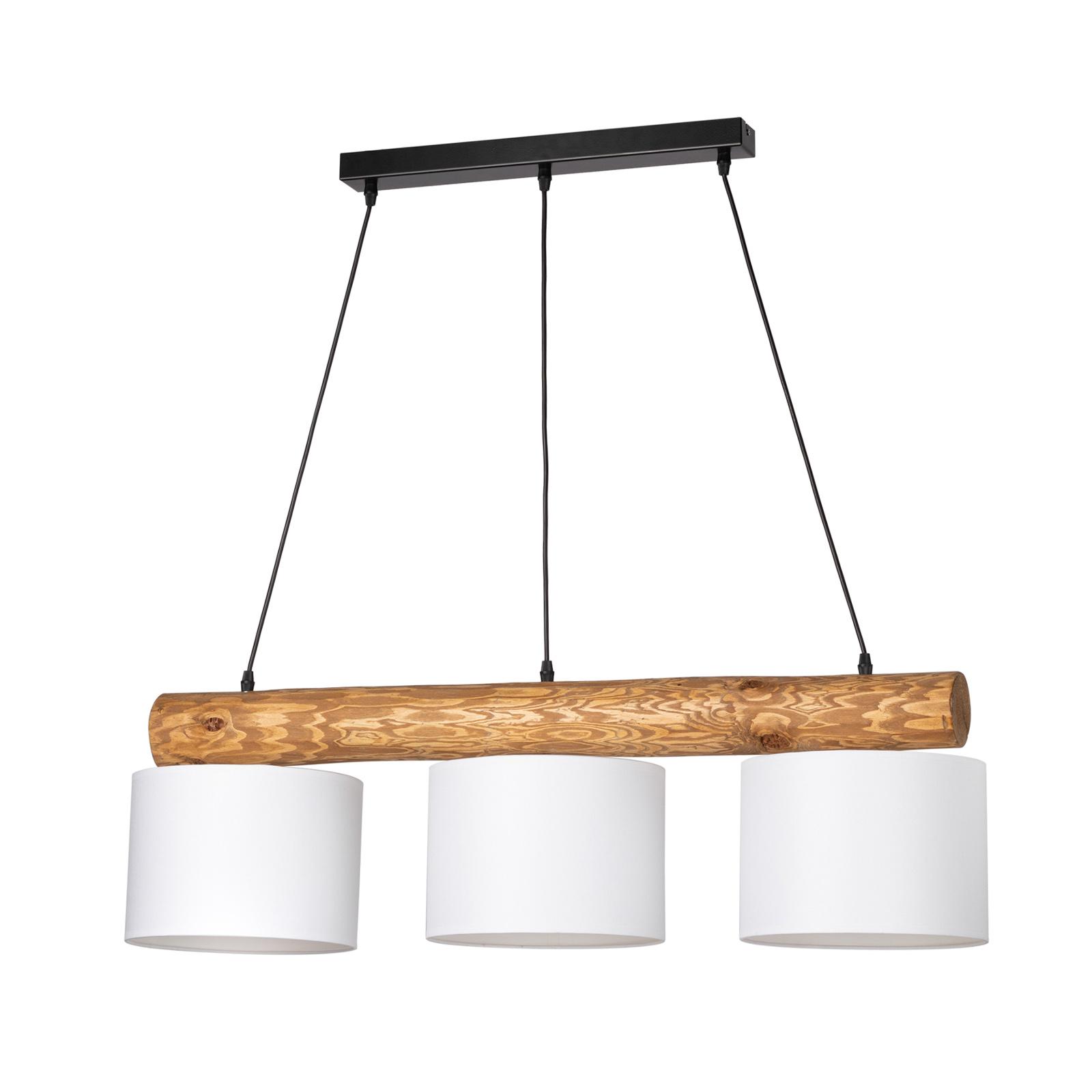 Pino Simpel hængelampe, hvid skærm, brun stang
