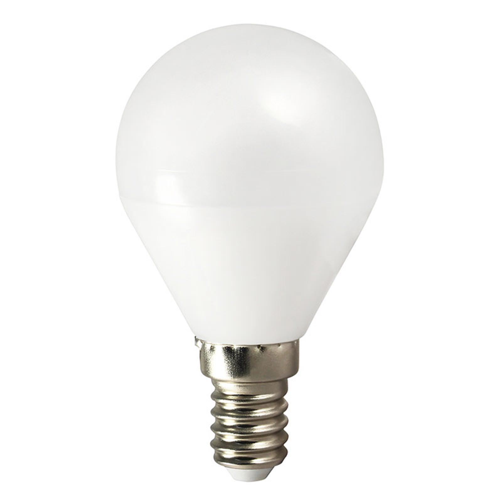 Żarówka LED TEMA E14 5W kropla ciepła biel AC/DC
