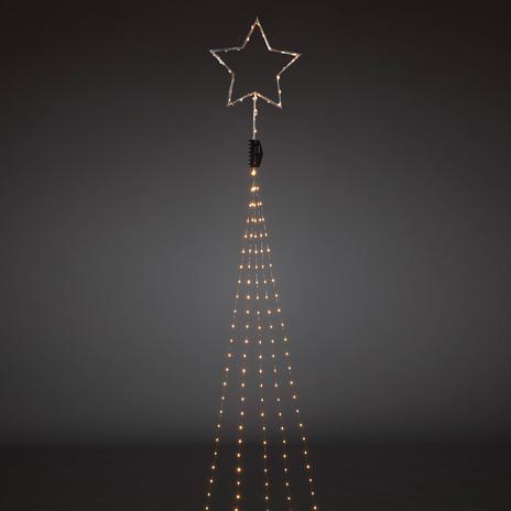 Gwiazda na czubek, srebrna – płaszcz LED 274pkt