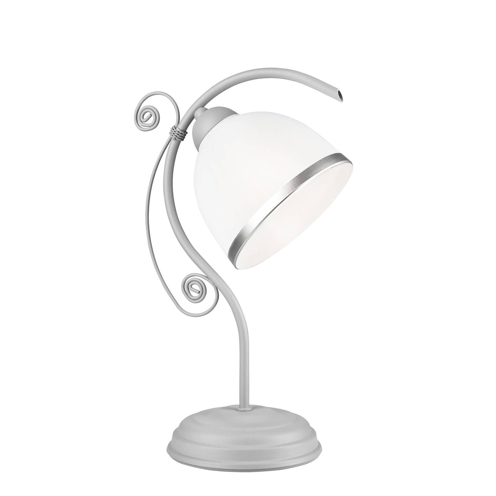 Tischleuchte Roma in Weiß und Silber
