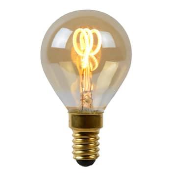 LED-pære E14 3W dråbe, rav, 2.200K, kan dæmpes