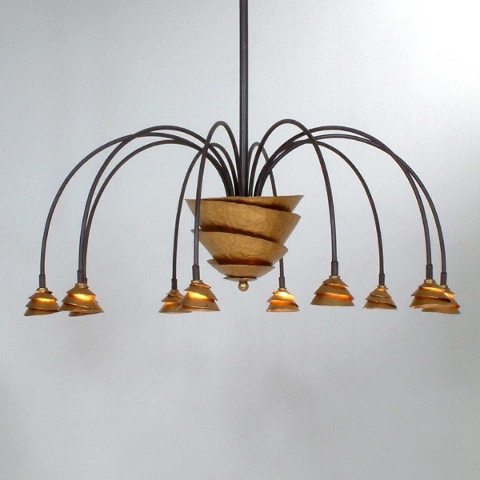 Produktové foto J. Holländer LED závěsné světlo Fontaine železo-hnědá-zlatá