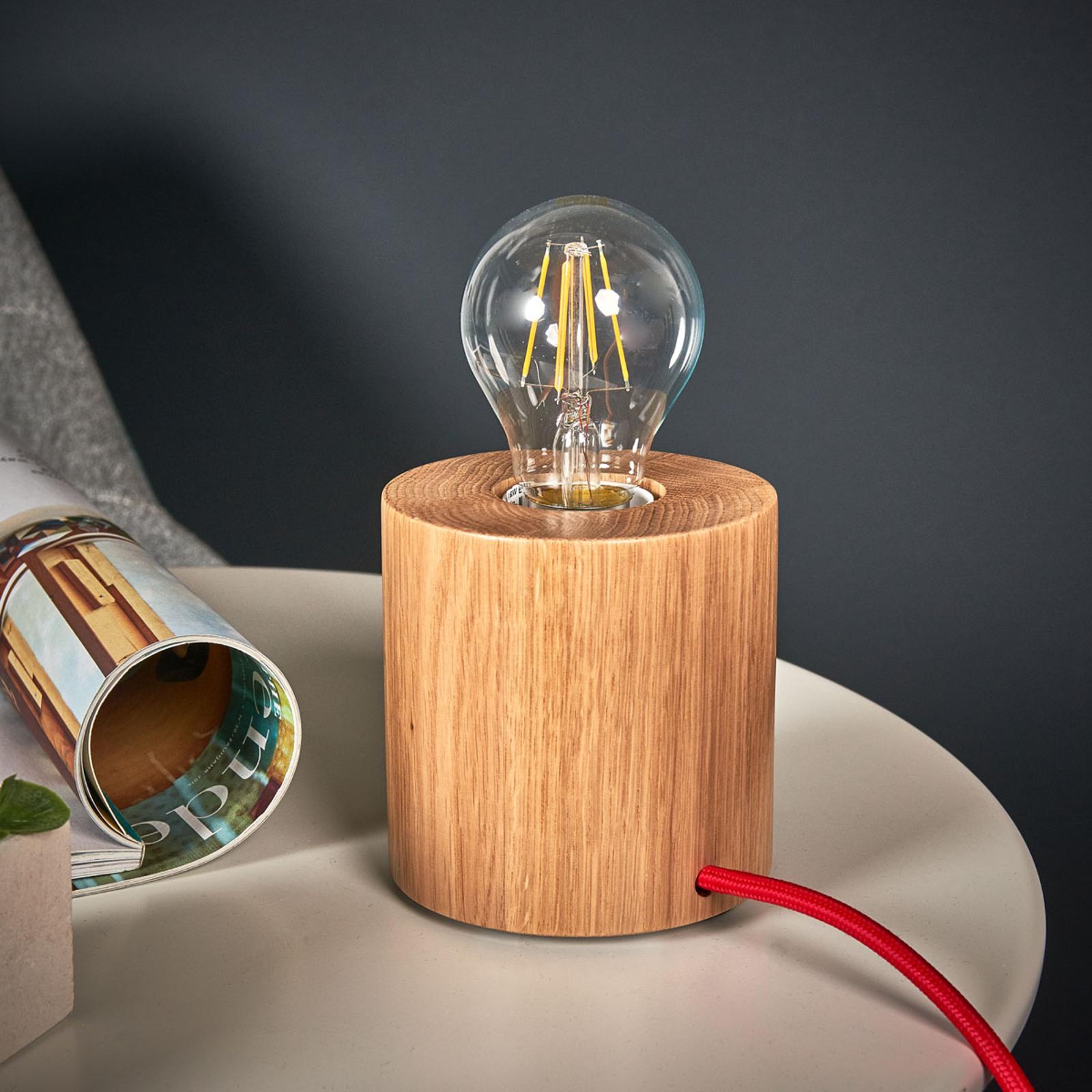 Puristisch ontworpen houten tafellamp Trongo