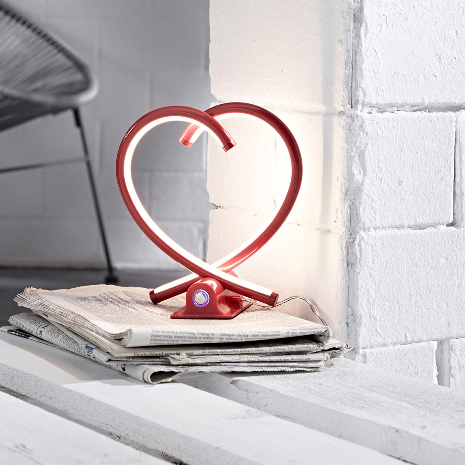 Lámpara mesa LED Valentín roja, forma de corazón