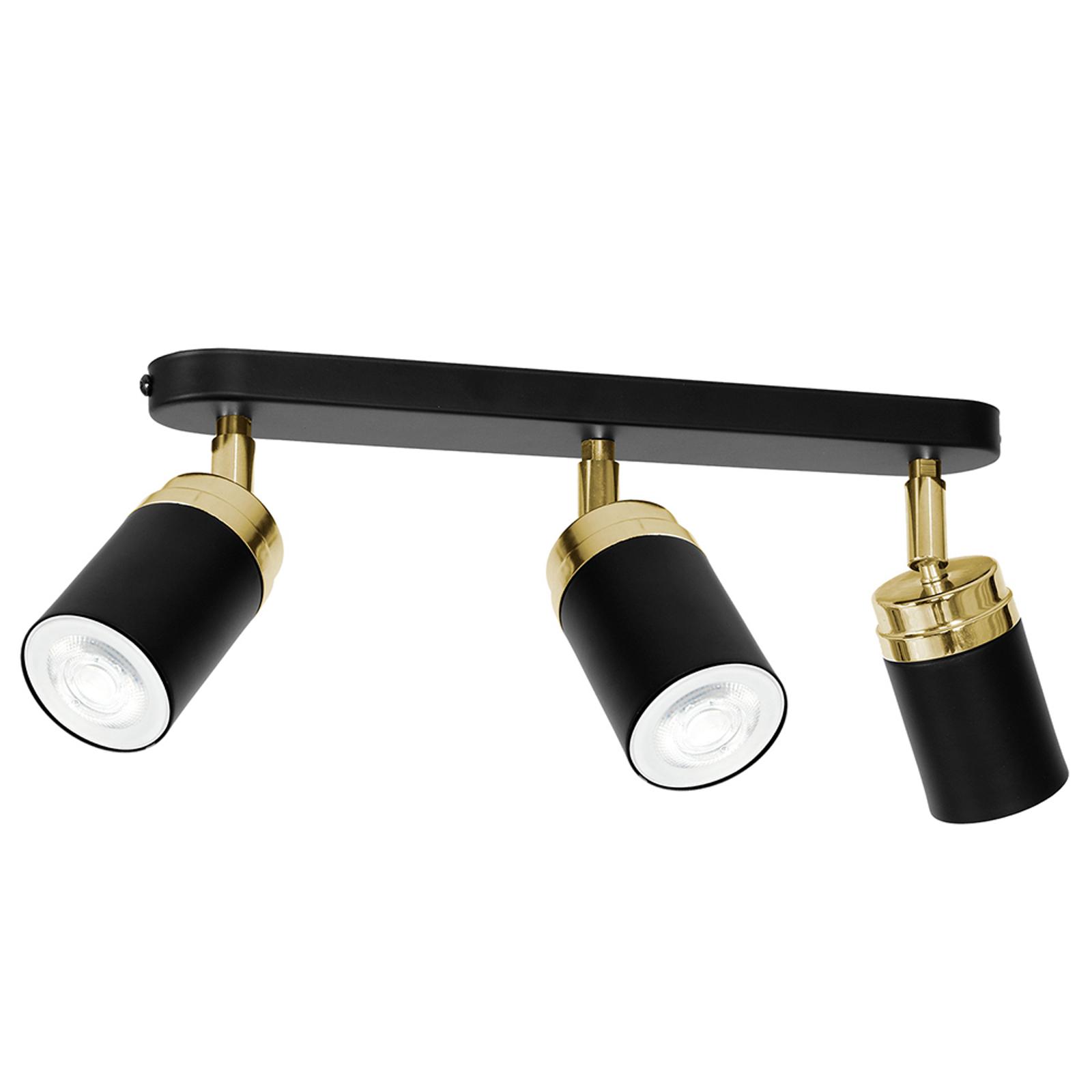 Takspotlight Reno, tre lampor, svart/guld