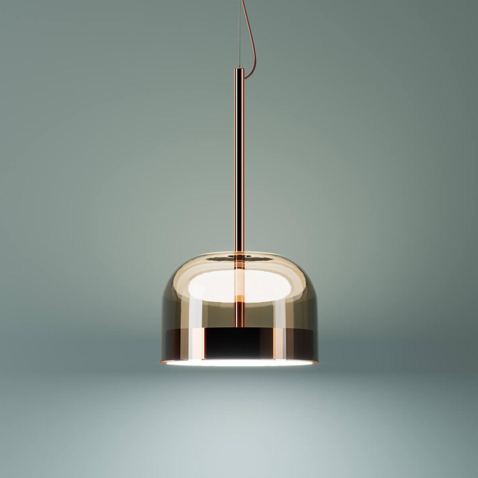 Koperkleurige LED hanglamp Equatore, 23,8 cm