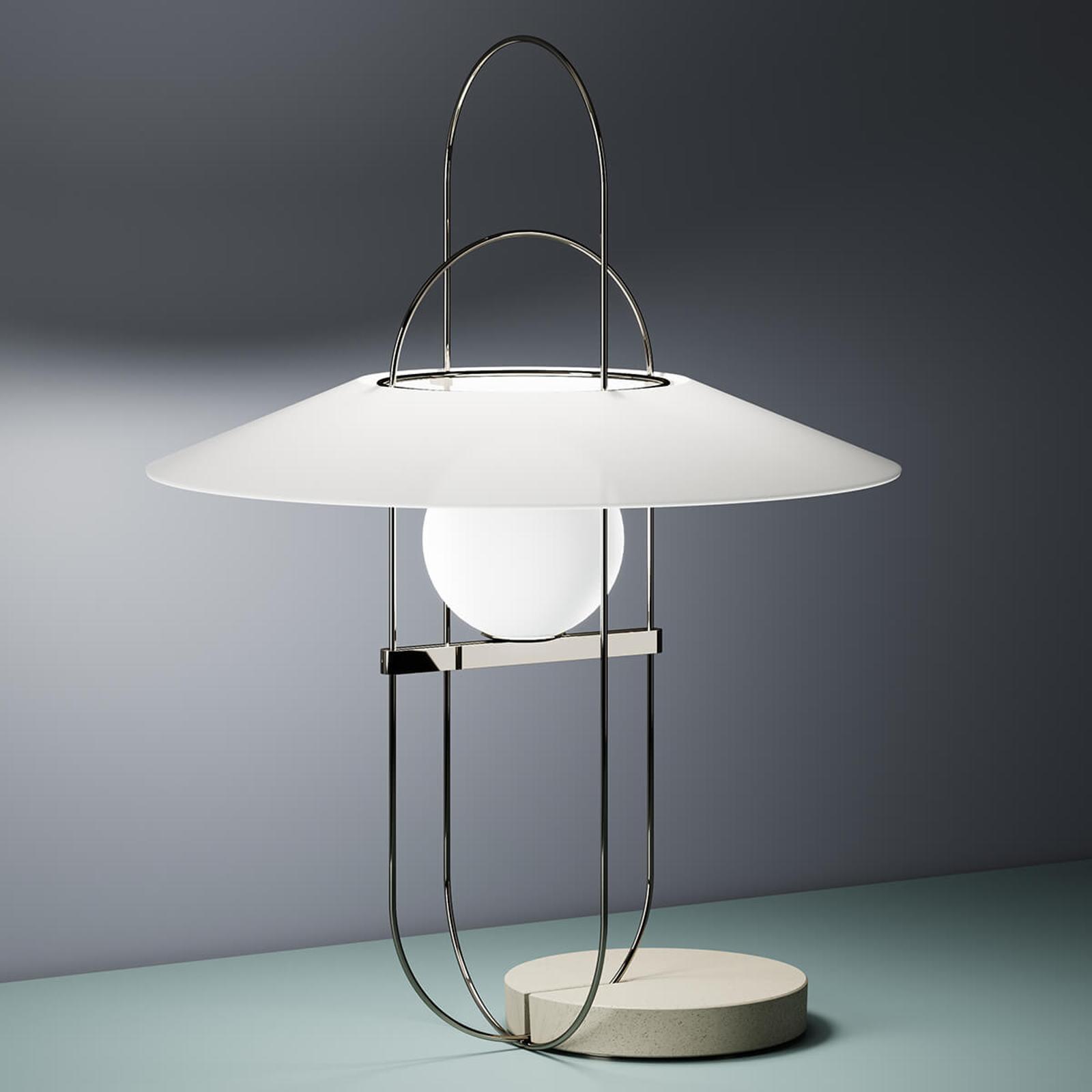 Filigranowa lampa stołowa LED Setareh chrom i biel
