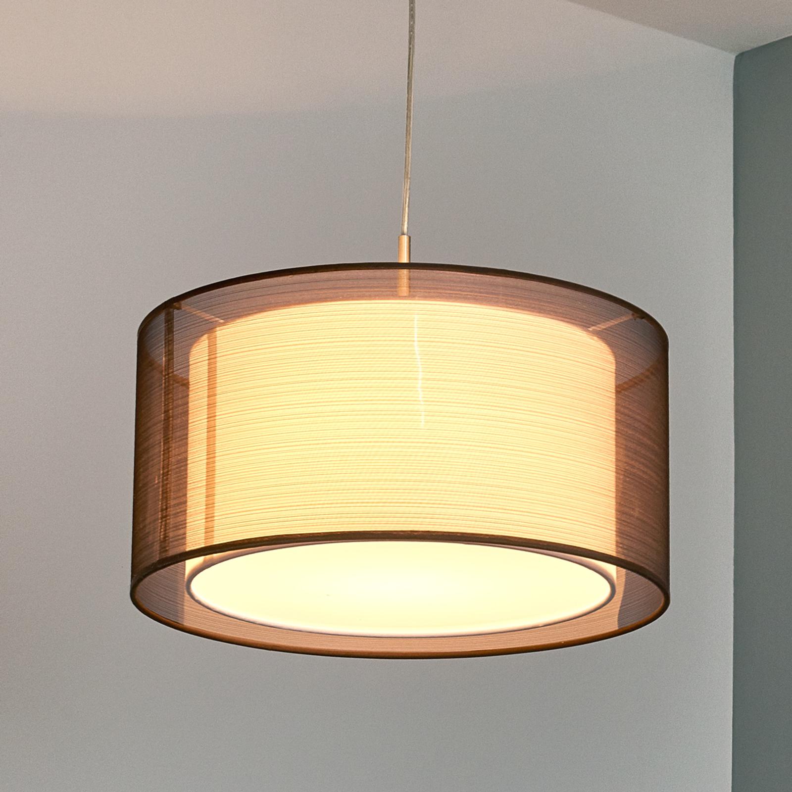 Materiałowa lampa wisząca Nica, brązowa