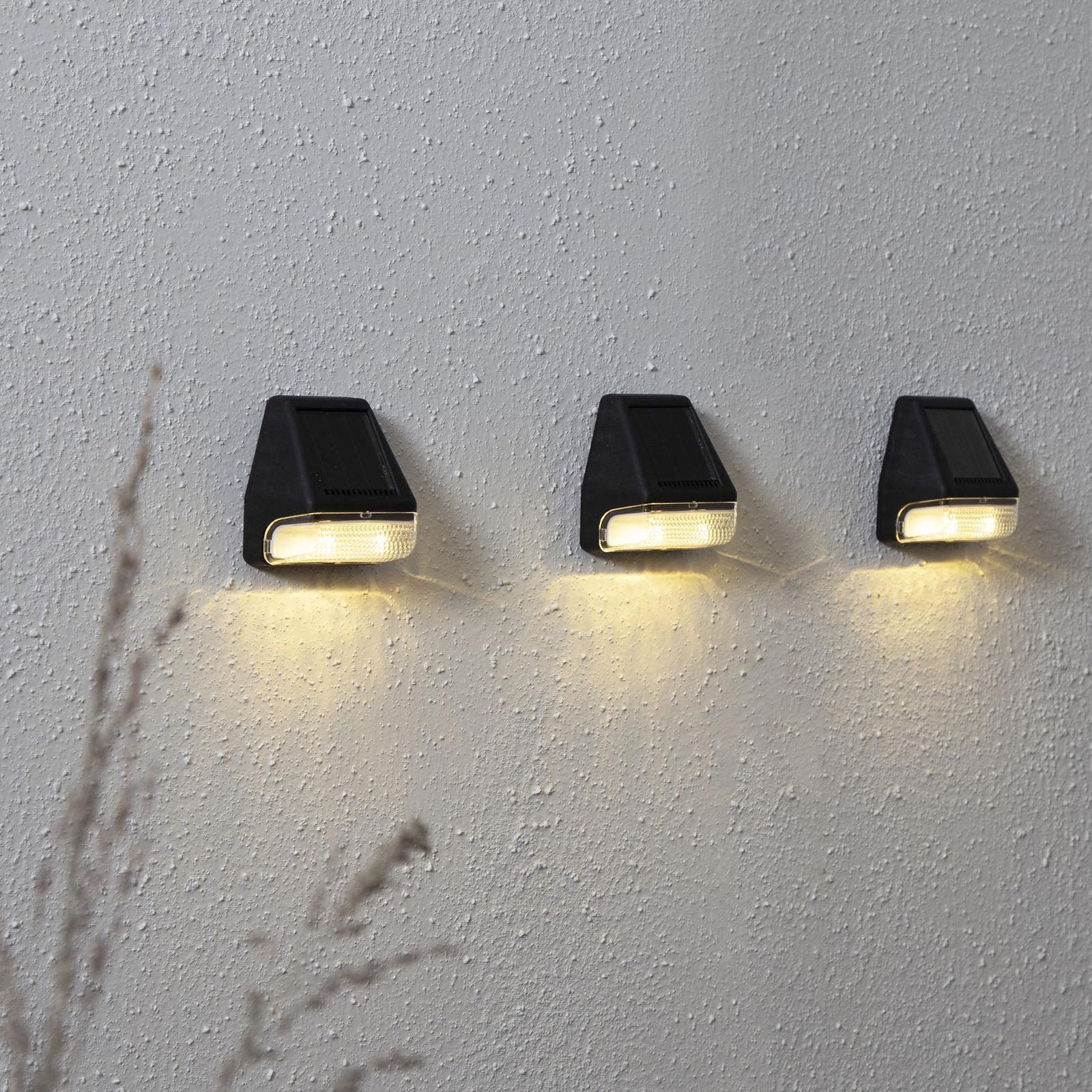 Wally Mini LED-væglampen med solcelle, sæt m 3 stk