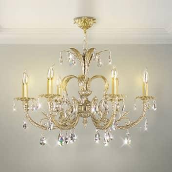 Kristalljuskrona Palmera, gammalt gold, 6 lampor