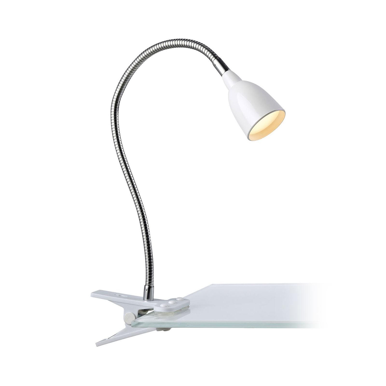 LED-klämlampa Tulip, vit