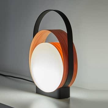 LZF Loop lámpara mesa LED negro, madera, atenuable