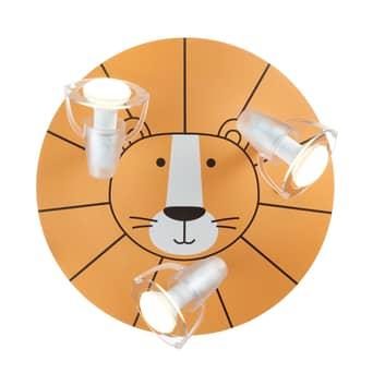 Deckenstrahler Löwe in Gelb mit drei Spots