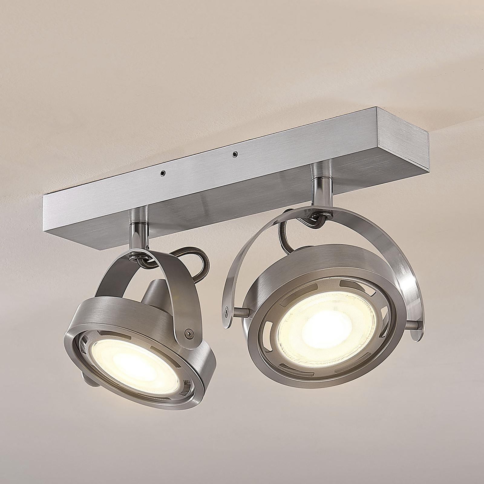 Spot LED Munin, dimmable, aluminium, 2 lampes
