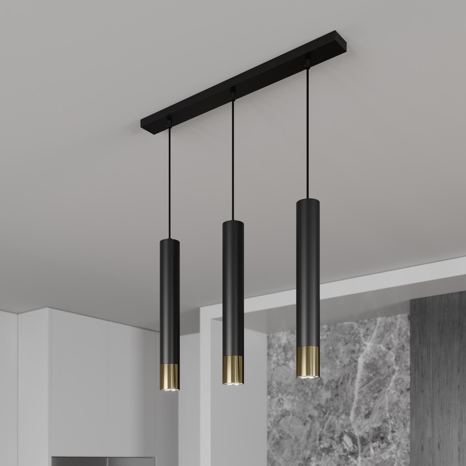 Suspension Nest à 3 lampes linéaire noire/dorée