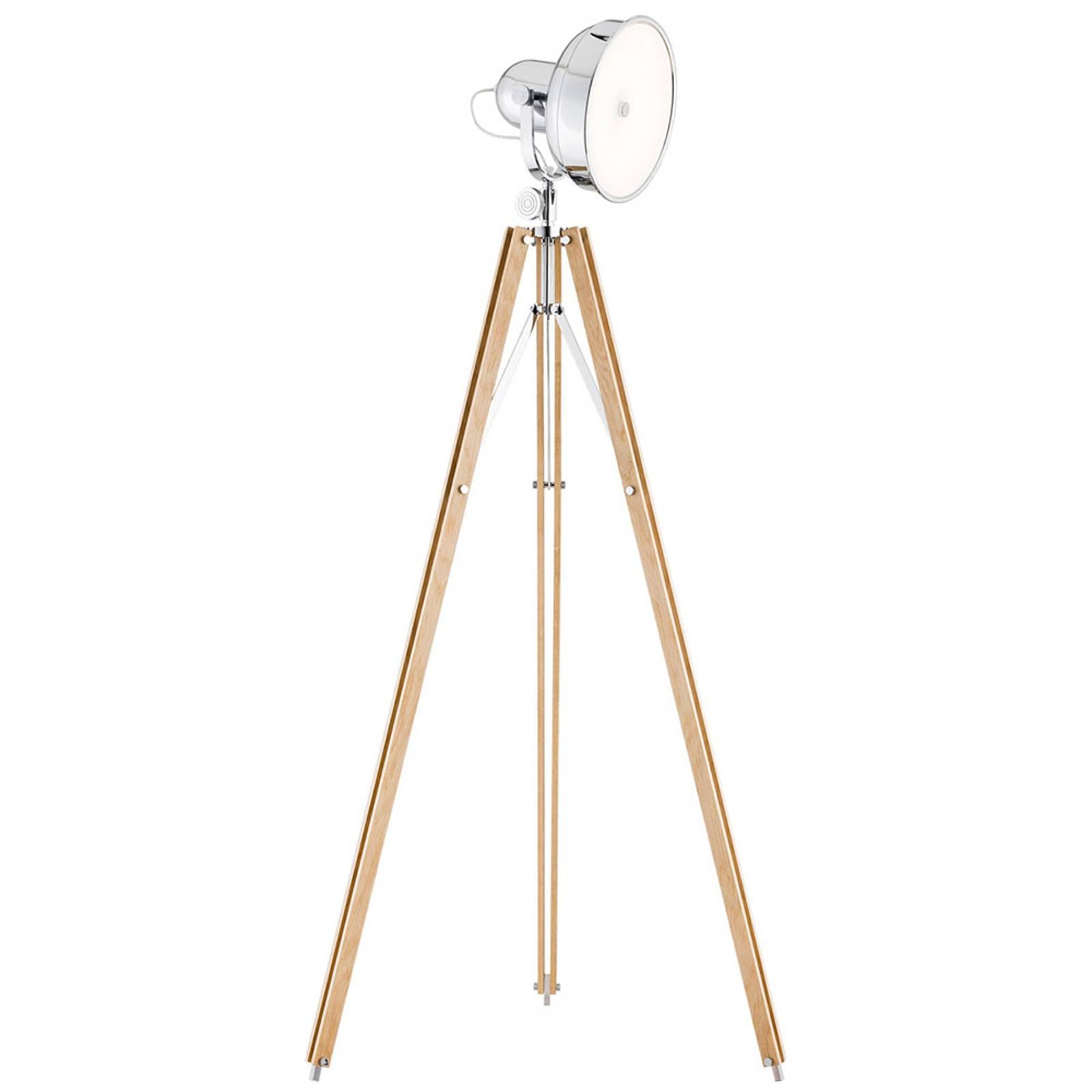 Lampadaire LED Forada, trépied bois naturel/chrome