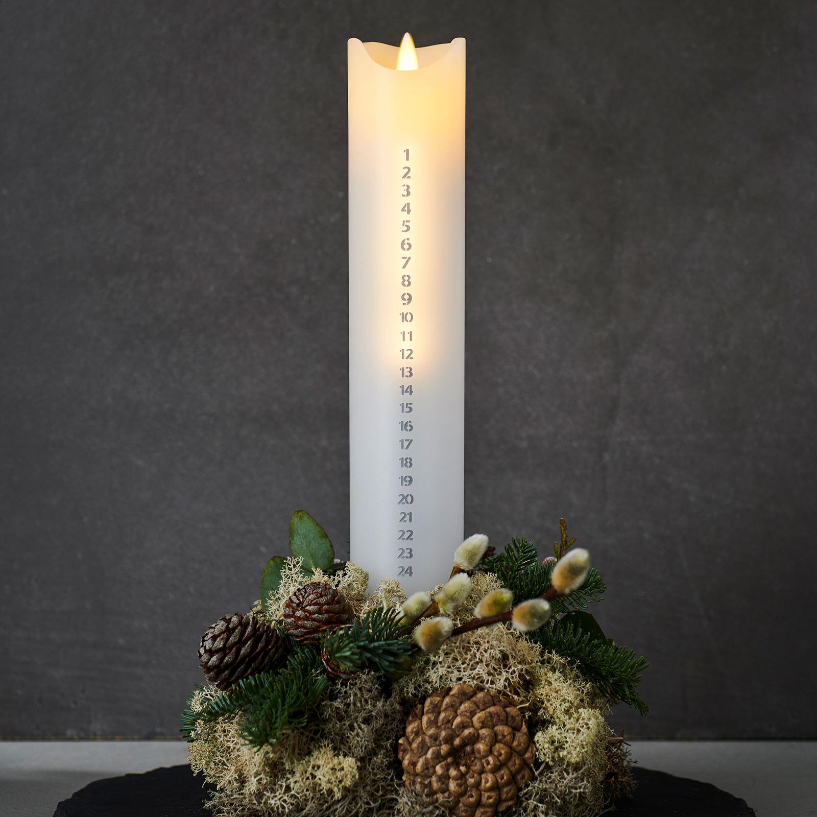 LED-kynttilä Sara Calendar,valk./hopea, kork.29 cm
