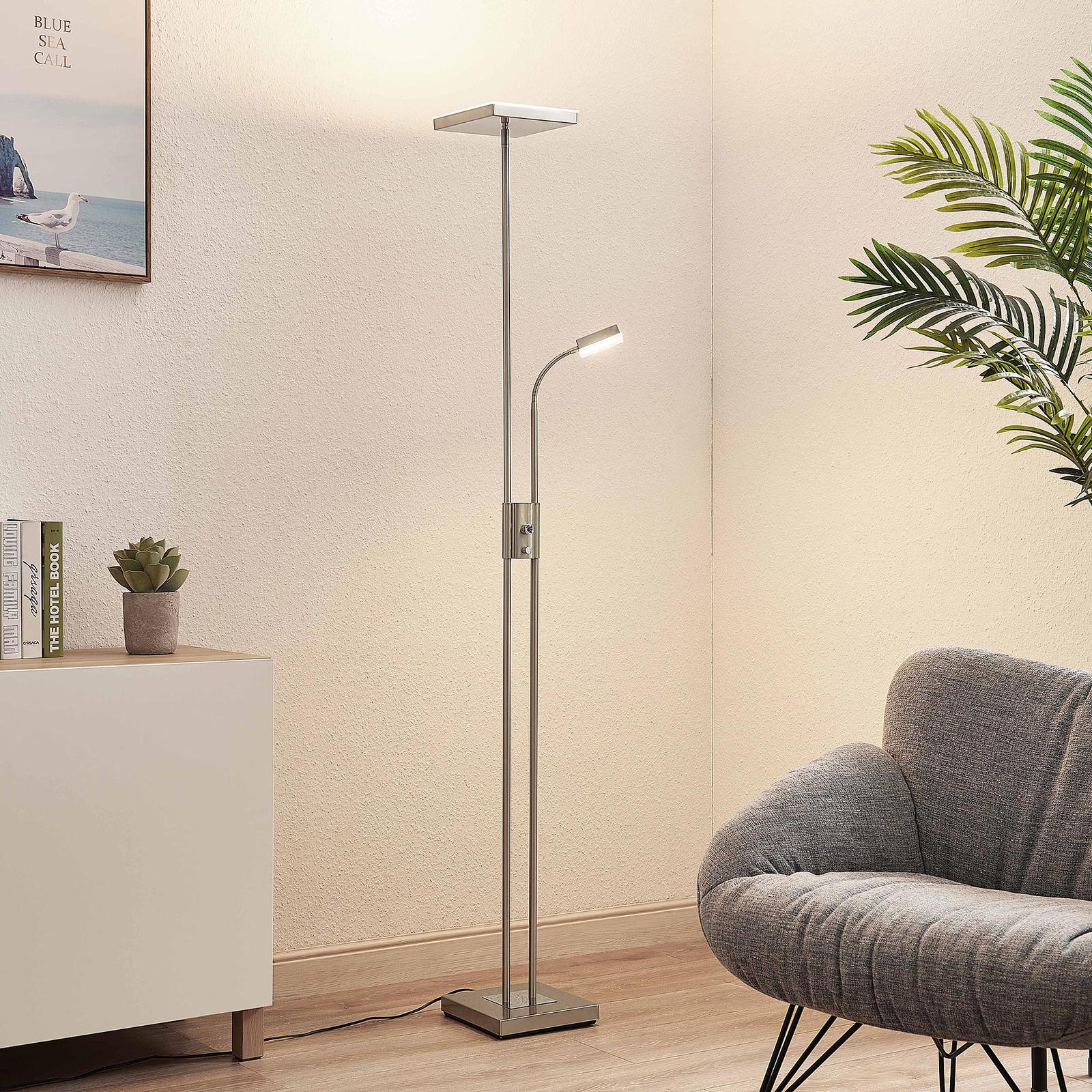 Lindby Seppa lampa stojąca LED, kątowa, nikiel