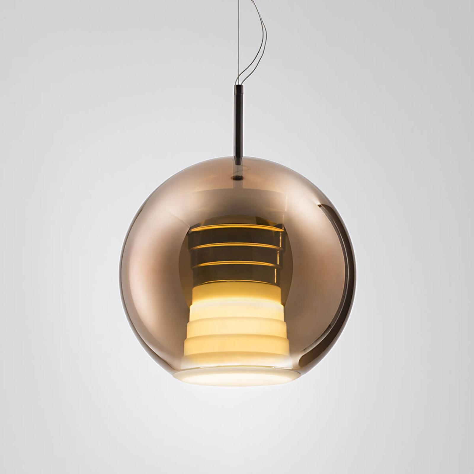 Szklana lampa wisząca Beluga Royal z LED, miedź