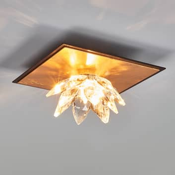 Plafonnier Fiore feuille d'or et cristal à 1 lampe