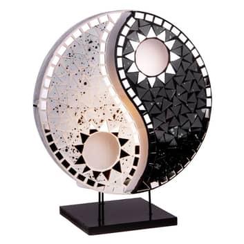 Lámpara mesa Ying Yang negro piedras mosaico negro