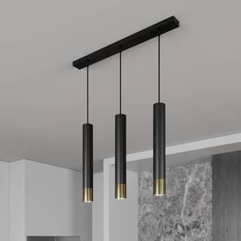 Lámpara colgante Nest 3 luces lineal negro/oro