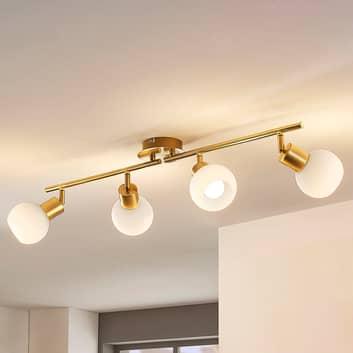 4-punktowa lampa sufitowa LED ELAINA, mosiężna