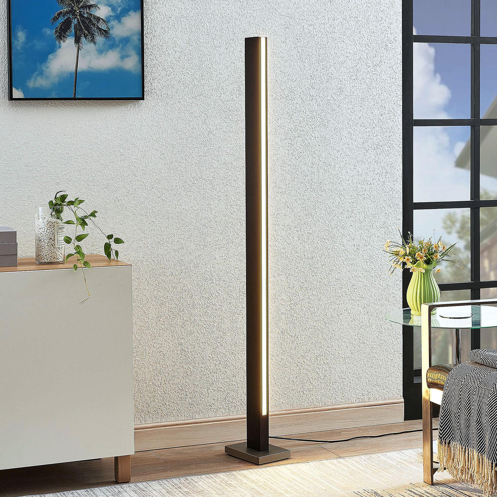 Lampadaire LED Tamlin en bois, noir