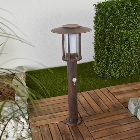 LED-sokkellampe Pavlos i rust, bevegelsessensor