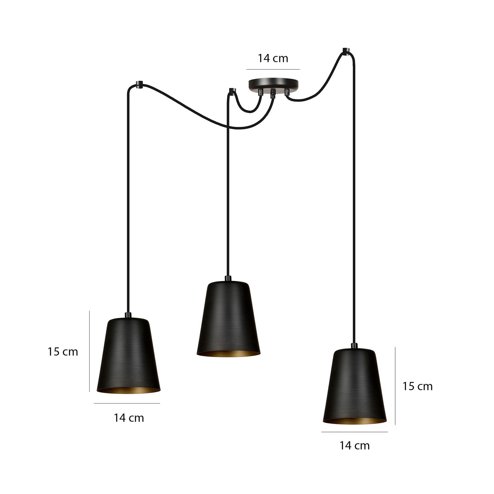 Lampa wisząca Link czarna, 3-punktowa