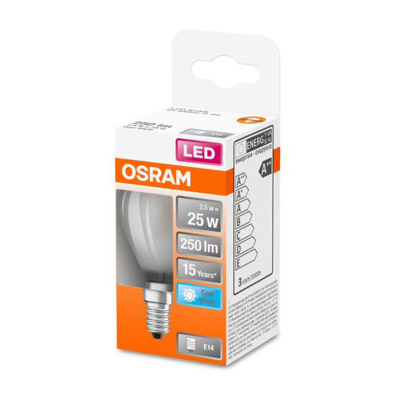 OSRAM Classic P LED E14 2,5W 4.000K satinata