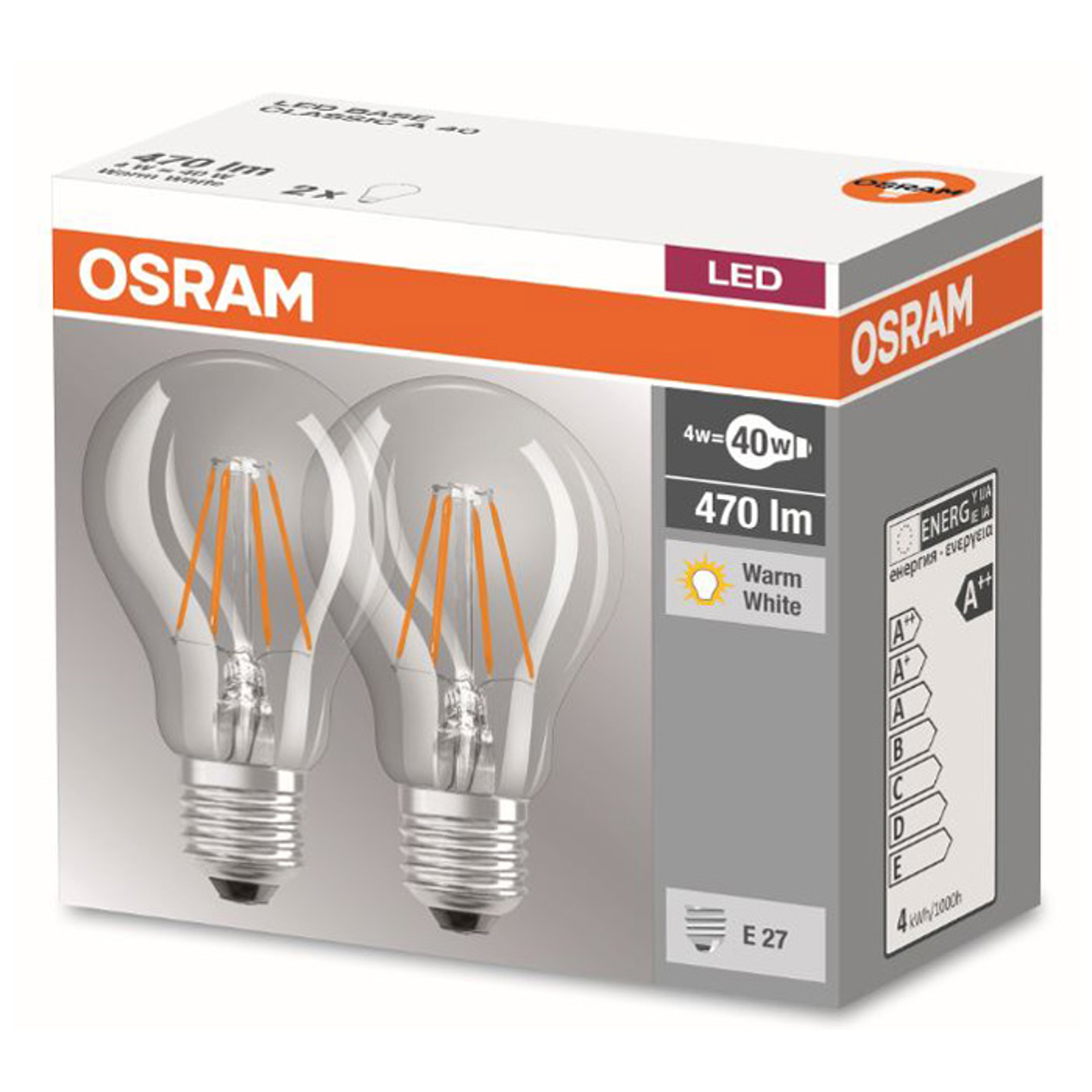E27 4W 827 LED-Filament-Lampe 2er Set