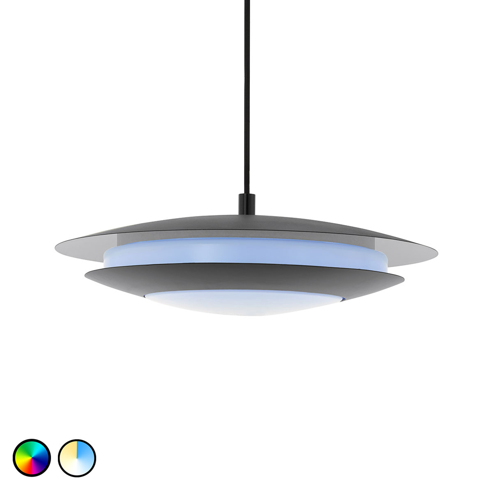 EGLO connect Moneva-C -LED-riippuvalo musta Ø 40,5